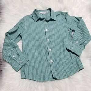 H&M Green Blue Checkers Long Sleeve Button Down